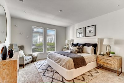 Master bedroom with brown blanket