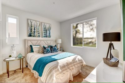 Blue toned bedroom